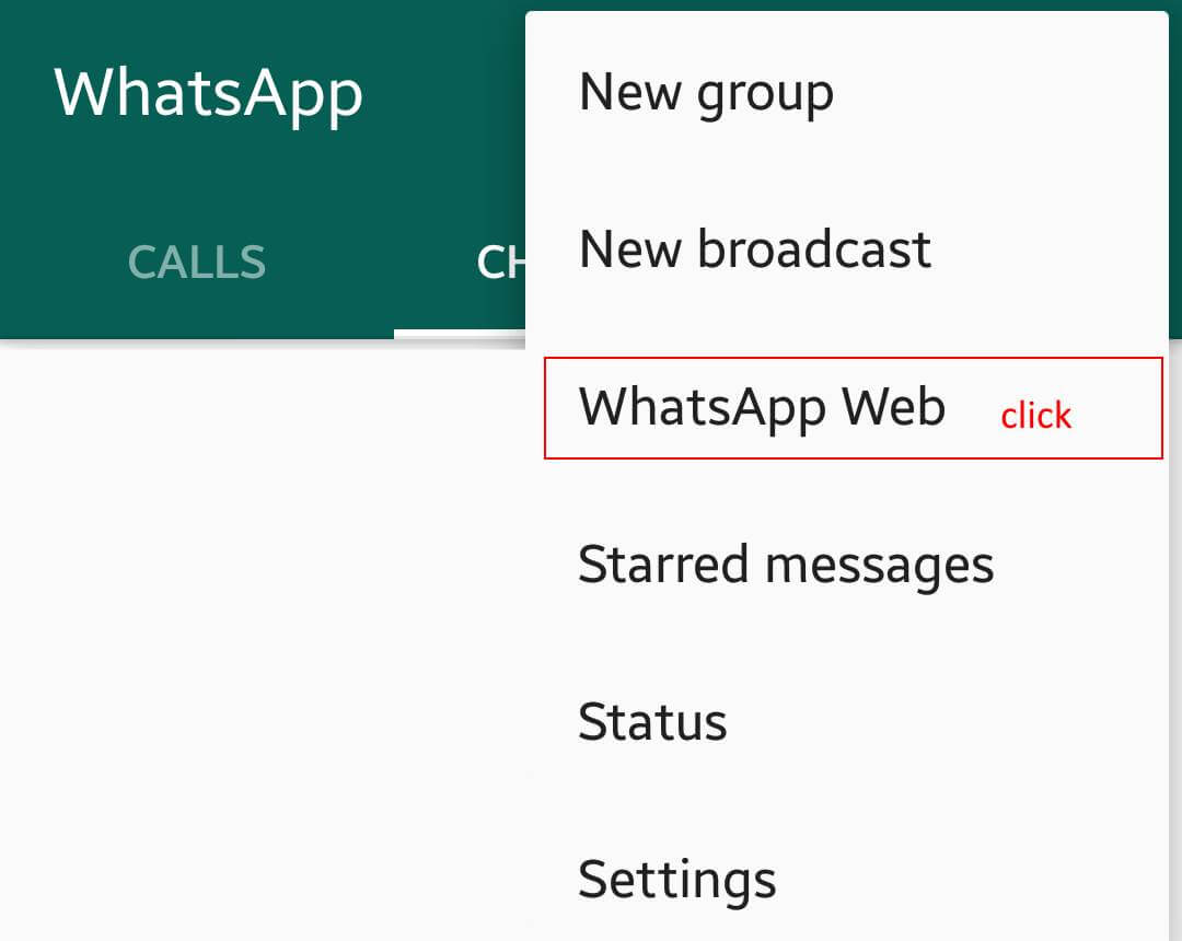 whatsapp menu open