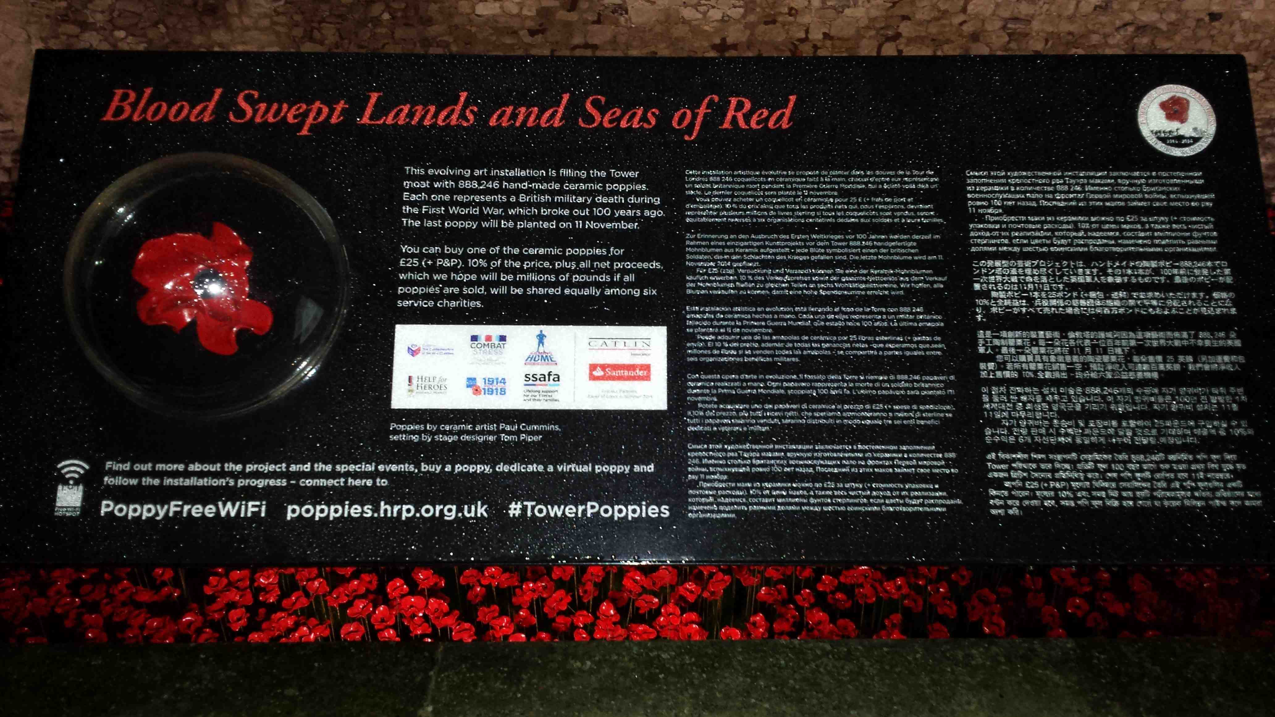 Plaque at the Tower of London mote explaining the art installation