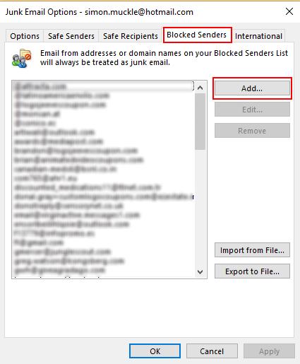 settings block sender in outlook
