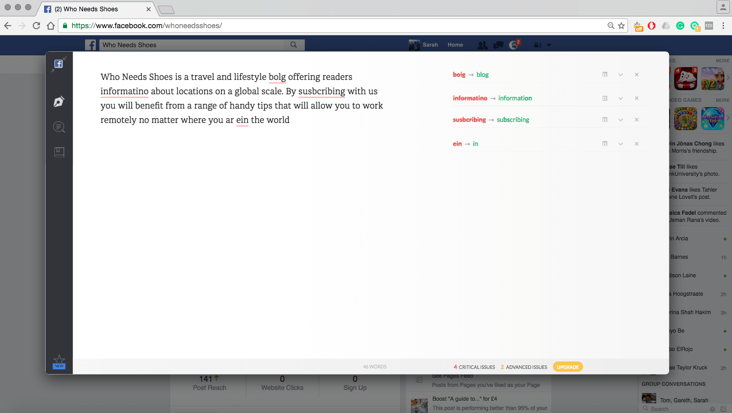 Example of Grammarly text editor popout on Chrome web browser