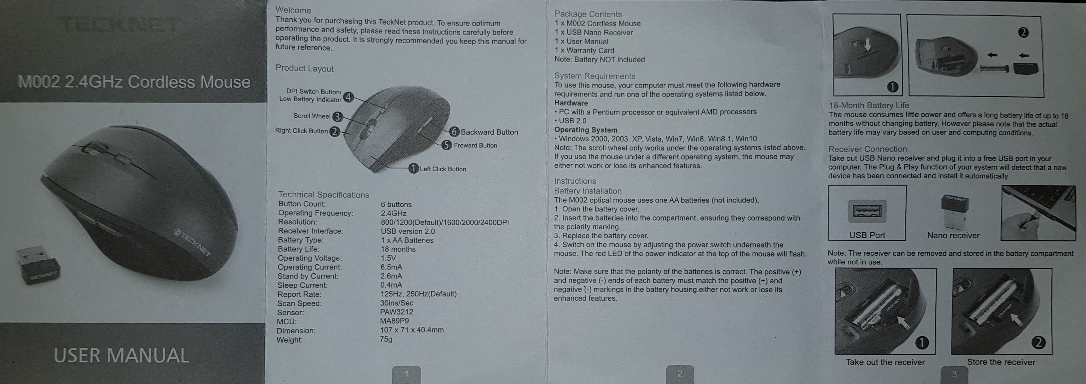 TeckNet Classic 2.4G USB Cordless Optical Mouse Manual